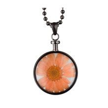 blumenkind® Ketten-Anhänger Blume Edelstahl 316L echte Chrysanthemen-Blüte grau orange
