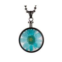 blumenkind® Ketten-Anhänger Blume Edelstahl 316L echte Chrysanthemen-Blüte grau blau