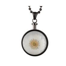 blumenkind® Ketten-Anhänger Blume Edelstahl 316L echte Chrysanthemen-Blüte grau weiß