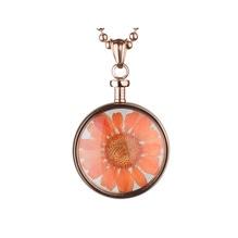 blumenkind® Ketten-Anhänger Blume Edelstahl 316L echte Chrysanthemen-Blüte rosegold orange