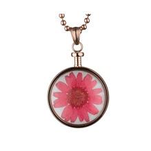 blumenkind® Ketten-Anhänger Blume Edelstahl 316L echte Chrysanthemen-Blüte rosegold rot
