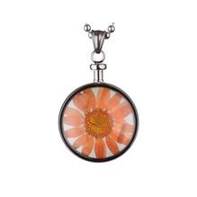 blumenkind® Ketten-Anhänger Blume Edelstahl 316L echte Chrysanthemen-Blüte silber orange