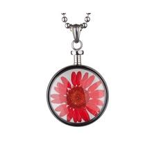blumenkind® Ketten-Anhänger Blume Edelstahl 316L echte Chrysanthemen-Blüte silber rot