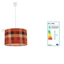 Pendelleuchte 1flg. mit runden Lampenschirm aus Stoff in Rot Braun Beige