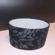 Textil Lampenschirm E27 oval 22x15 Dekor schwarz