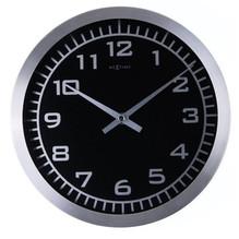 Runde Wanduhr Schwarz Aluminium Nextime 2953 Ø25cm Blacky