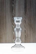 Kerzenständer / Blumenvase aus Glas Transparent Kerzenhalter 27,5 cm Kerzenleuchter für Stabkerzen