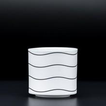 Teelichtglas Wave Kerzenständer Blumenvase Porzellan Weiß Teelichthalter 6,5cm Kerzenleuchter 4564