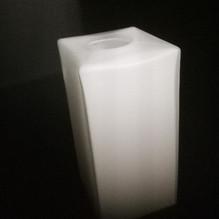 Glasschirm Eckig 10cm weiß Lampenglas Ersatzglas E14