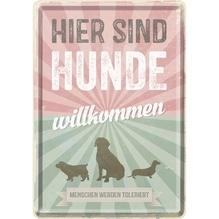 PfotenSchild Blechpostkarte - Hunde willkommen