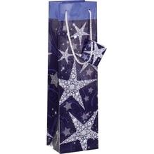 Sigel Geschenktasche Shining Stars Bottle GT027 100x350x80mm bl/silber