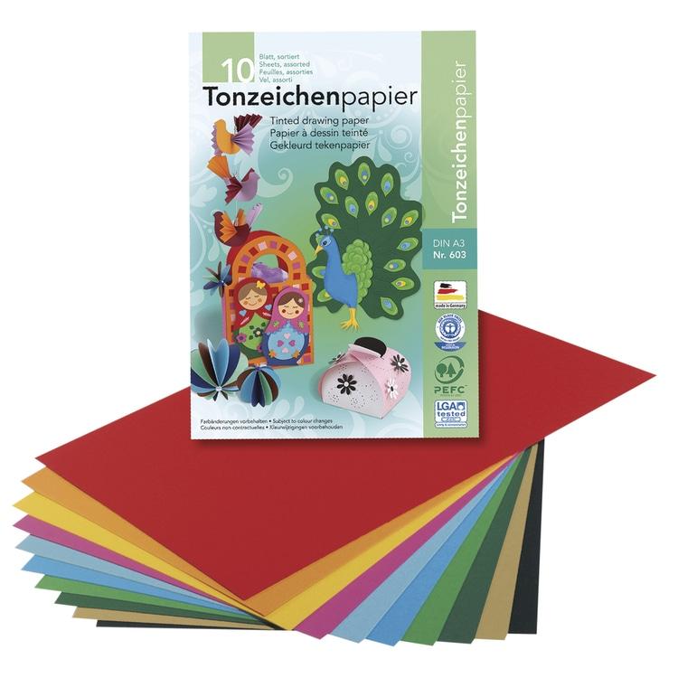Tonzeichenpapier, DIN A3, 130 g/m2, 10 Farben, Set 10Blatt