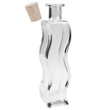 Glasflasche 'Welle' mit Naturkorken, Volumen 200ml