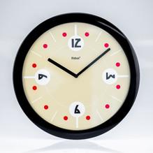 Schwarze Wanduhr rund Ziffernblatt Uhrzeiger Mebus 52665