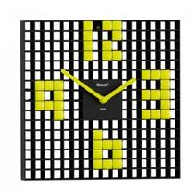 Design Wanduhr quadratisch Retro gelb Ziffernblatt