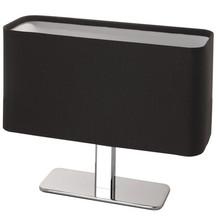 Moderne Stoff Tischleuchte oval chrom Linus schwarz