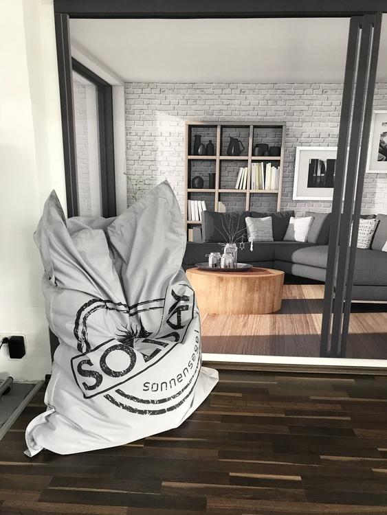 Sitzsack grau Indoor und Outdoor Terrassenmöbel