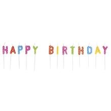 Kerzensticks HAPPY BIRTHDAY, 1,5x7,7cm, 13 Buchstaben, SB-Box, bunt