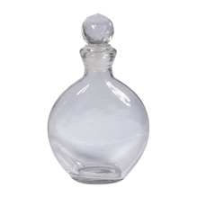 Glasflakon flach, 9x3x11,5cm, mit Acrylpfropfen, 150ml