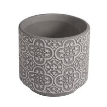 Keramik Blumentopf floral, 11cm ø, 10cm, hellgrau
