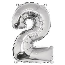 Folienballon Zahl 2, 40cm, SB-Btl 1Stück, silber