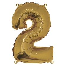 Folienballon Zahl 2, 40cm, SB-Btl 1Stück, gold