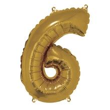 Folienballon Zahl 6, 40cm, SB-Btl 1Stück, gold