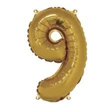 Folienballon Zahl 9, 40cm, SB-Btl 1Stück, gold
