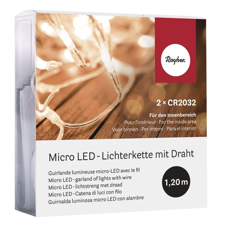Micro LED-Lichterkette mit Draht, 120cm, 10 Lichter, SB-Box 1Stück