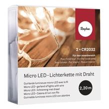 Micro LED-Lichterkette mit Draht, 220cm, 20 Lichter, SB-Box 1Stück