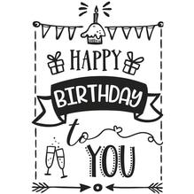 Stempel Happy Birthday, 7x10cm