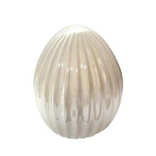 Keramik Ei perlmutt, 8,6x11cm, PVC-Box 1Stück, creme