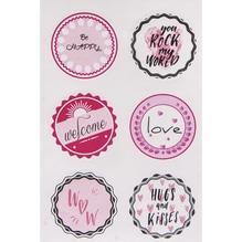 Sticker Hugs + Kisses, 3,5cm ø, SB-Btl 24Stück
