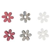 Holz-Streuteile Blüten, 1,8cm ø, 0,8mm, SB-Btl 12Stück, weiß/pink/grau
