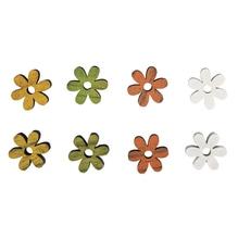 Holz-Streuteile Blüten, 1,8cm ø, 0,8mm, SB-Btl 12Stück, orange/grün/gelb/weiß