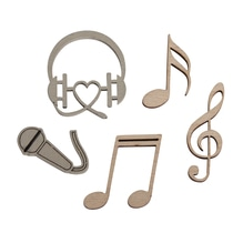 Holz-Streuteile Musik, FSC 100%, 1,4-3x2,8-4cm, SB-Btl 12Stück