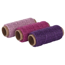 Hanfkordel-Set, 1mm ø, 3 Farben á 12m, SB-Btl 36m, rosa,pink,lila