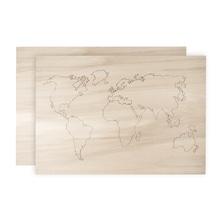 Holz-Weltkarte, 2 Platten, FSC 100%, 42x29,7x0,4cm, 1x gelasert, 1x Rückwand