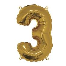 Folienballon Zahl 3, 40cm, SB-Btl 1Stück, gold