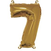 Folienballon Zahl 7, 40cm, SB-Btl 1Stück, gold