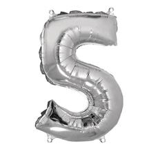 Folienballon Zahl 5, 40cm, SB-Btl 1Stück, silber