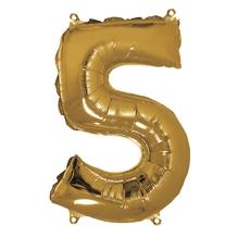 Folienballon Zahl 5, 40cm, SB-Btl 1Stück, gold