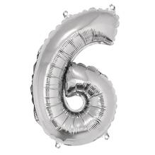 Folienballon Zahl 6, 40cm, SB-Btl 1Stück, silber