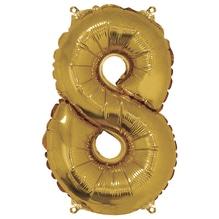 Folienballon Zahl 8, 40cm, SB-Btl 1Stück, gold