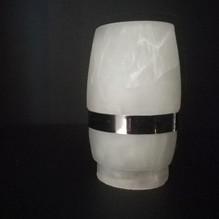 Glasschirm Alabaster weiß Lampenglas Ersatzglas Chrom