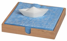 P.e.T. Serviettenhalter aus Holz mit Bott ausw eißem Porzellan